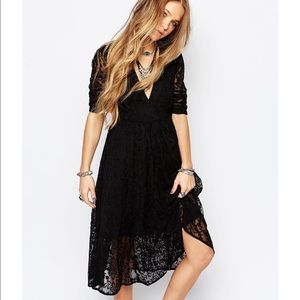 NWT Free People Womens Laurel Lace Dress Black 6